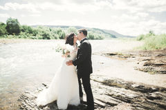 Elegant stylish happy brunette bride and gorgeous groom on the background of a beautiful waterfall in the mountains Stock Images