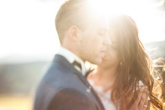Elegant stylish happy brunette bride and gorgeous groom  on the Stock Photos