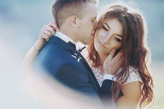 Elegant stylish happy brunette bride and gorgeous groom  on the Royalty Free Stock Photos