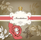 Elegant stylish vintage invitation card with rose Royalty Free Stock Images