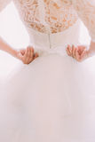 Elegant stylish vintage  white wedding dress with ornaments and bows on bride's back close-up Royalty Free Stock Photography