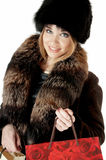 Elegant stylish woman in fur Stock Images