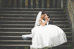 Elegant stylish young bride and groom kissing Stock Photography