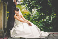 Elegant stylish young bride and groom Royalty Free Stock Image
