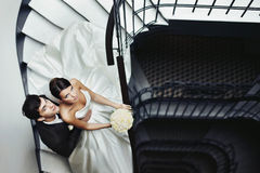 Elegant Stylish Young Couple Beautiful Bride And Groom On The St Royalty Free Stock Photography