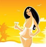 Elegant summer girl. Vector illustration Stock Photography
