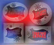 Elegant sun from flat line with symbols of Christmas and New Year Royalty Free Stock Photography