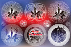 Elegant sun from flat line with symbols of Christmas and New Year Stock Photo