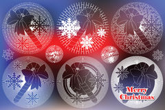 Elegant sun from flat line with symbols of Christmas and New Year Stock Image