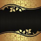 Elegant svart bakgrund med blom- guld- gränser Arkivbilder