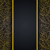 Elegant svart bakgrund med guld snör åt prydnaden stock illustrationer