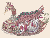 Elegant swan coloring page Royalty Free Stock Images