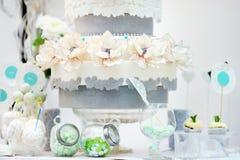 Elegant sweet table with big cake Stock Image