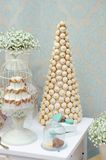 Elegant sweet table with cake and macaroon Stock Image