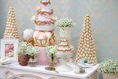 Elegant sweet table on dinner or event party Royalty Free Stock Image