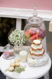 Elegant sweet table on wedding or event party Stock Photo