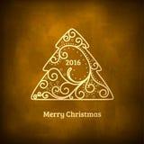 Elegant swirl Christmas tree with shine. Stock Photos