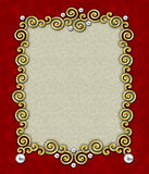 Elegant Swirl Frame 1. A stunning frame of golden swirls & silver beads against a rich red background - perfect for the holidays stock image