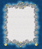 Elegant Swirl Frame 2. A stunning frame of silver swirls & gold beads against a rich aqua background - perfect for the holidays stock photos