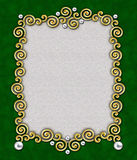 Elegant Swirl Frame 4. A stunning frame of golden swirls & silver beads against a rich green background - perfect for the holidays stock photography