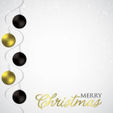 Elegant swirly bauble Christmas card Royalty Free Stock Images
