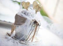 Elegant tabell för brölloprundamatställe Royaltyfria Foton