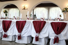 Elegant table. Wedding table in a luxurious ballroom Stock Image
