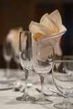 Elegant table. Setting at a wedding reception stock photography