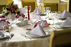 Elegant table arranged for event Stock Images
