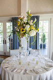 Elegant table arrangement at reception Stock Photo