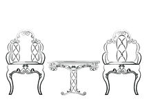 Elegant Table and chairs furniture set quilted with leather Royalty Free Stock Photos