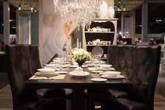Elegant table on display at HOMI, home international show in Milan, Italy Stock Images