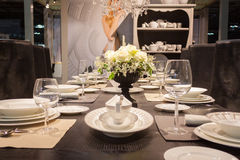 Elegant table on display at HOMI, home international show in Milan, Italy Stock Photo