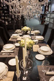Elegant table on display at HOMI, home international show in Milan, Italy Stock Image