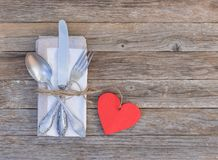 Elegant table place setting for Valentines day, anniversary, wedding and romantic dinner Stock Photos