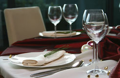 Elegant table in a restaurant Royalty Free Stock Photography