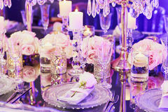 Elegant Table Set For An Event Party Or Wedding Reception Royalty Free Stock Photos