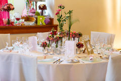 Elegant table set in soft pink for wedding Stock Photography