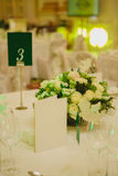 Elegant table set up for wedding banquet Stock Images