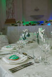 Elegant table set up for wedding banquet Stock Photography