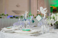 Elegant table set up for wedding banquet Royalty Free Stock Images