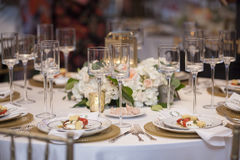 Elegant table set up for wedding reception stock photos