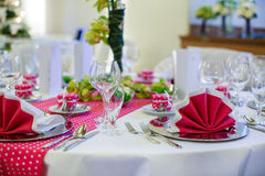 Elegant table set  for wedding or event party Stock Images