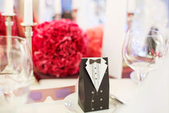 Elegant table set  for wedding or event party in soft red and pi Royalty Free Stock Image