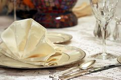 Elegant Table Setting. A dinning room table set for a formal dinner stock photography