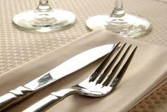 Elegant Table Setting. Close up photo of an elegant dinner table setting stock image