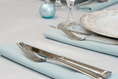 Elegant Table Setting. In Blue Tones Stock Photos