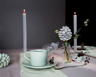 Elegant table setting. Christmas. romantic dinner - a table with a tablecloth, cutlery, candles, flowers, buds. Stock Photos