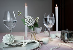 Elegant table setting. Christmas. romantic dinner - tablecloth, cutlery, candles, flowers, buds. Stock Photo