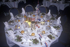 An elegant table setting at a Clinton/Gore 1992 fundraising event Stock Photo